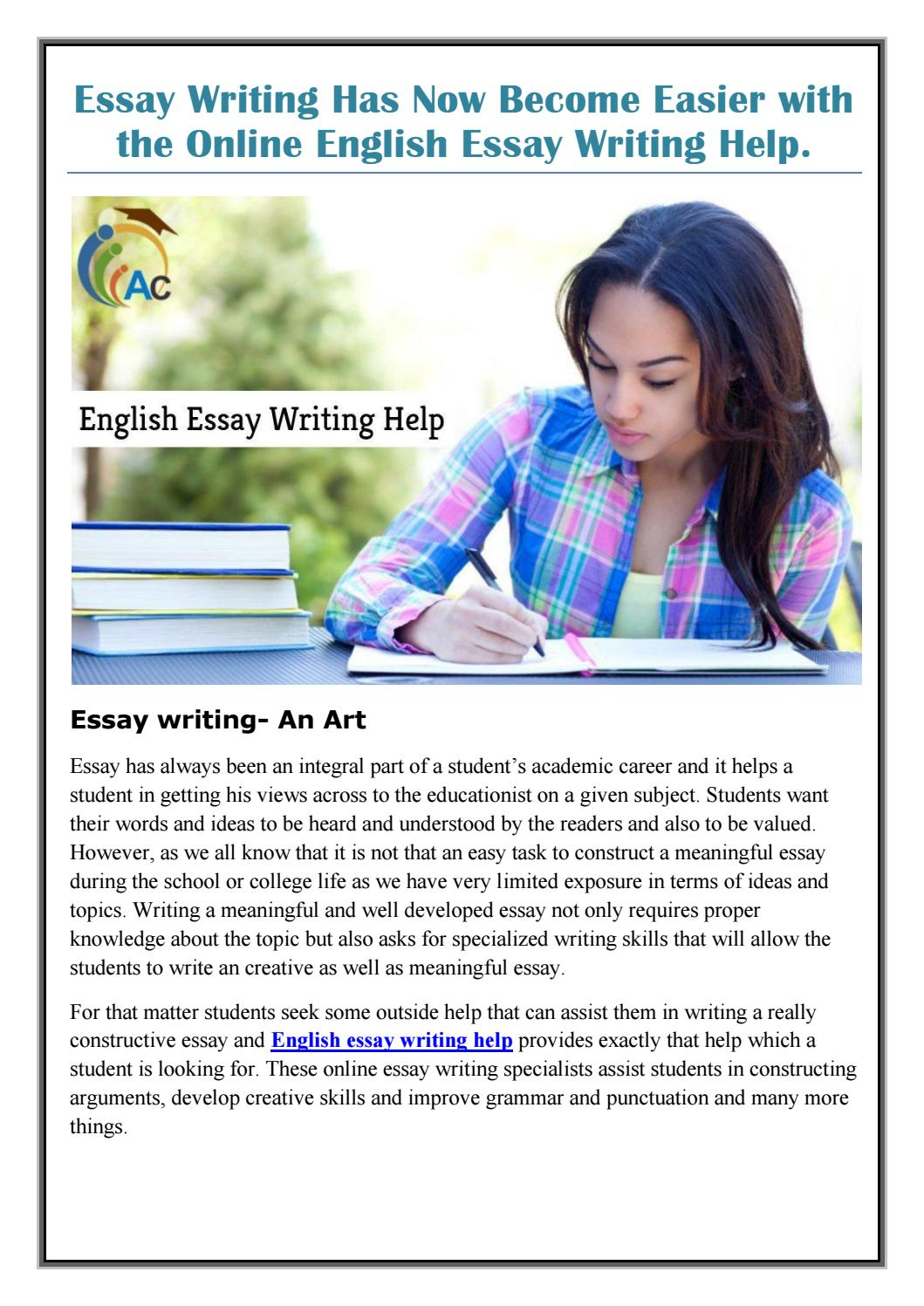 Essay Writing Has Now Become Easier With The Online English Essay  Essay Writing Has Now Become Easier With The Online English Essay Writing  Help By Assignmentconsultancy  Issuu
