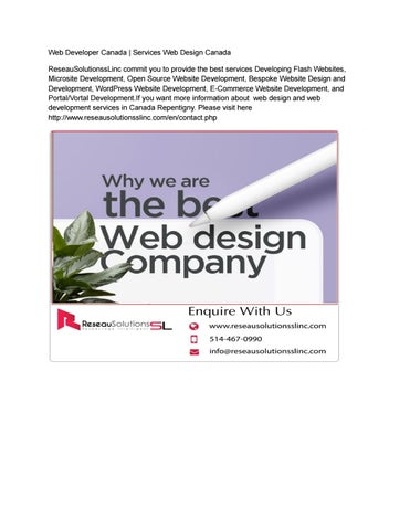 Web Development Services Canada Web Development Services Company By Reseau Solutionsslinc Issuu
