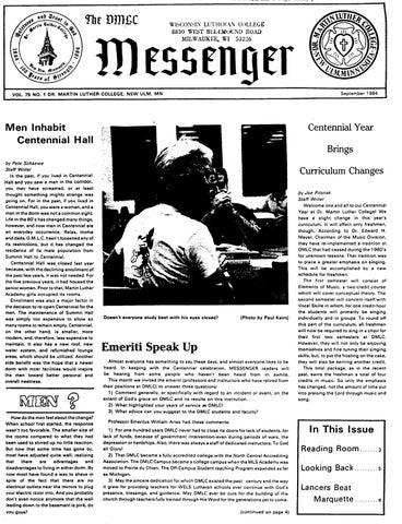 1984 1985 Dmlc Messenger Vol 75 By Martin Luther College Issuu
