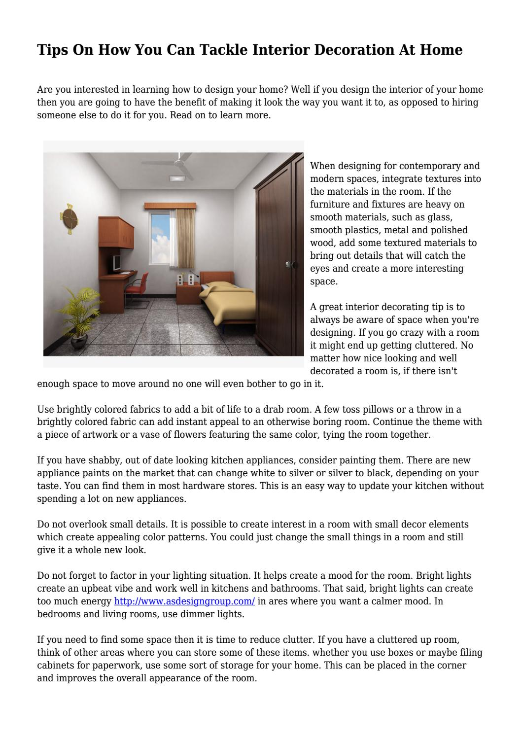 Tips on how you can tackle interior decoration at home by campbelltojxsyiojbcristiadrian issuu