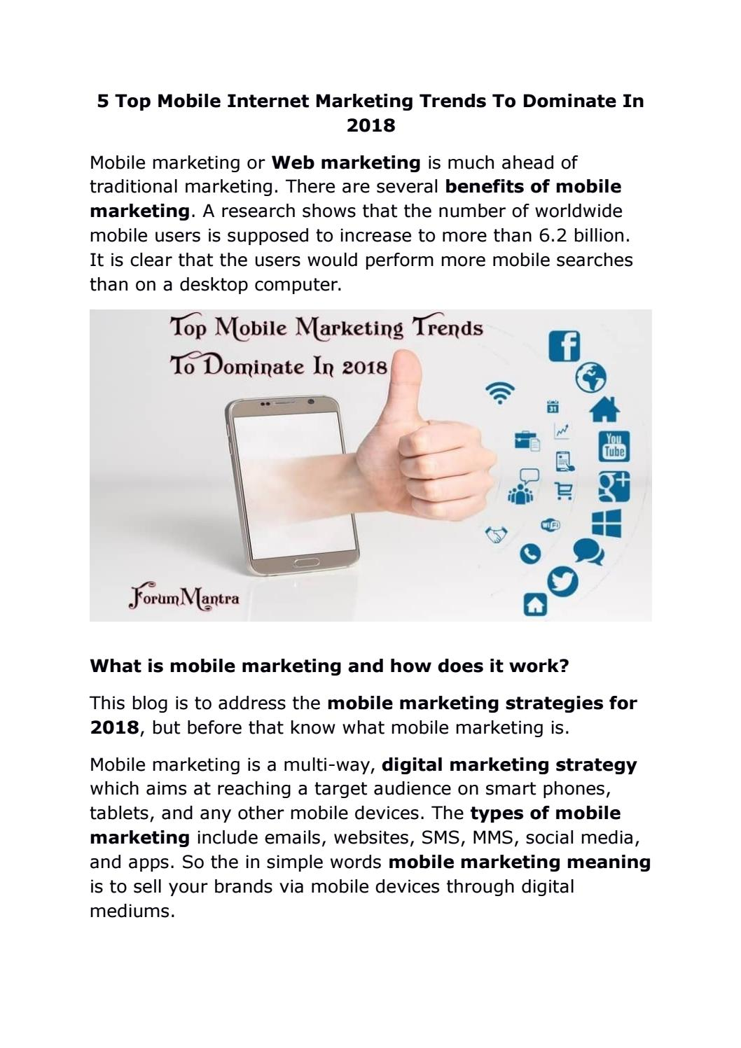 5 top mobile internet marketing trends to dominate in 2018