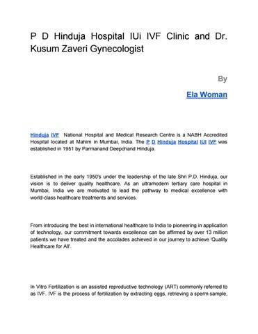 Best PD Hinduja hospital IUI IVF Clinic and Dr Kusum Zaveri