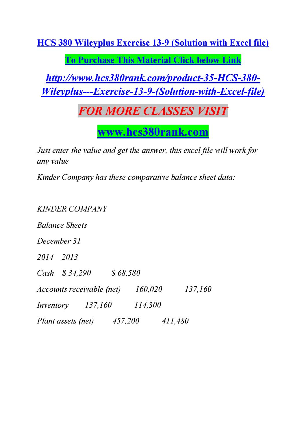hcs 380 wileyplus exercise 13 9 (solution with excel file) by