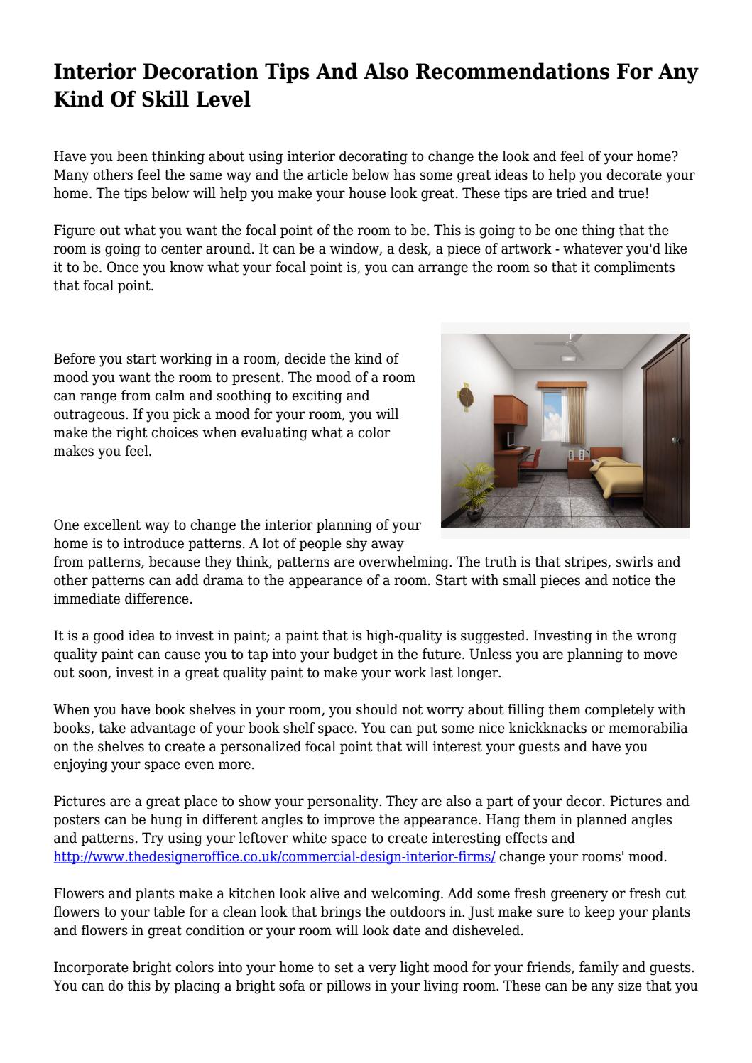 Interior Decoration Tips And Also Recommendations For Any Kind Of Skill  Level... by caulkpreyor - issuu