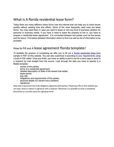 What Is A Florida Residential Lease Form By Sktaleb Issuu