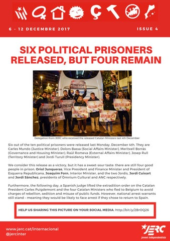 4th Issue - Six political prisoners released, but four