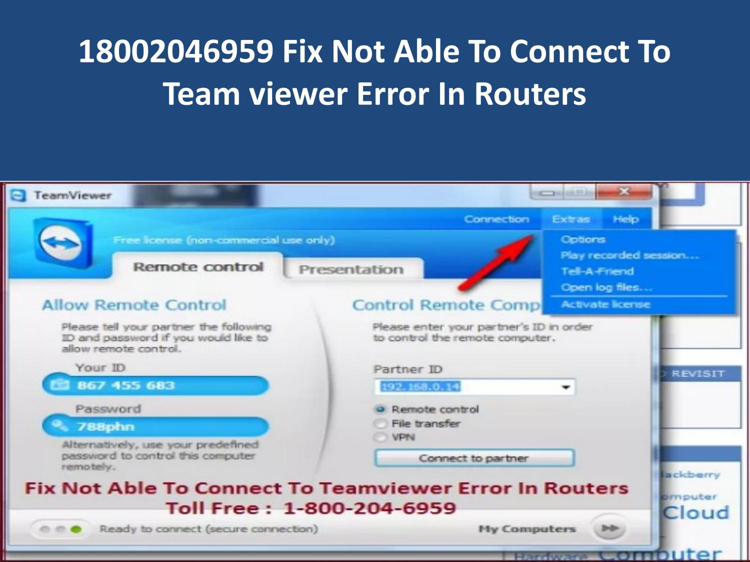 18002046959 Fix Not Able To Connect To Team viewer Error In