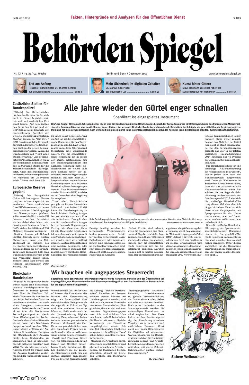 Behörden Spiegel Dezember 2017 by propress - issuu