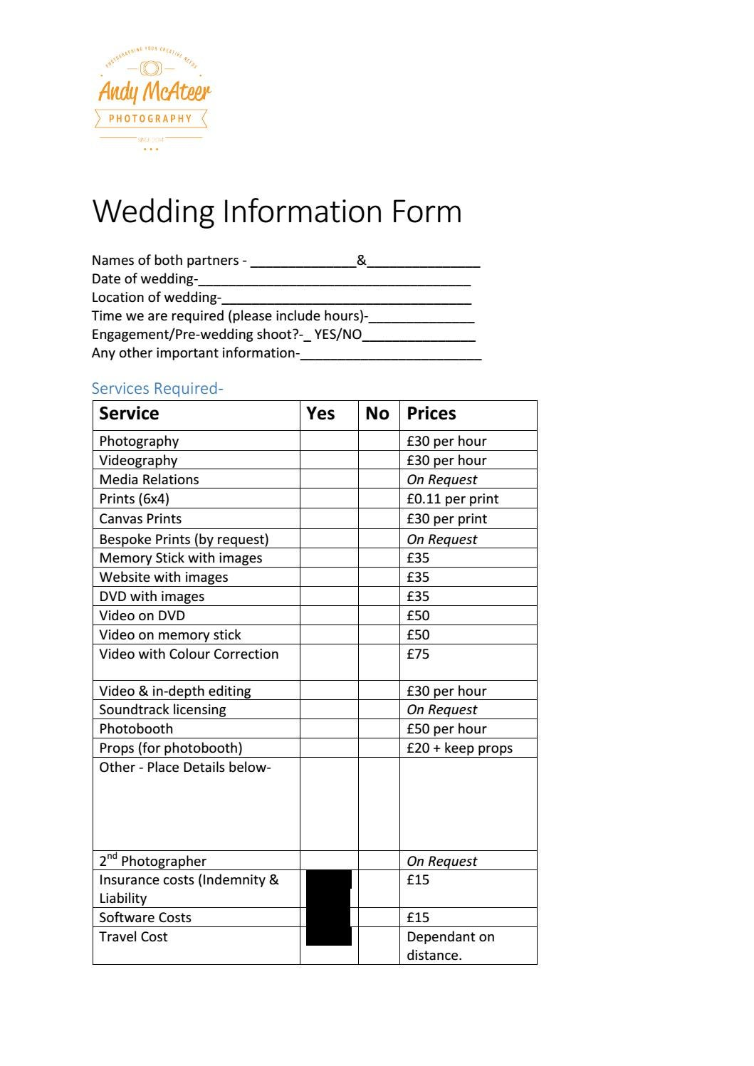 Wedding Information Form By Andy McAteer