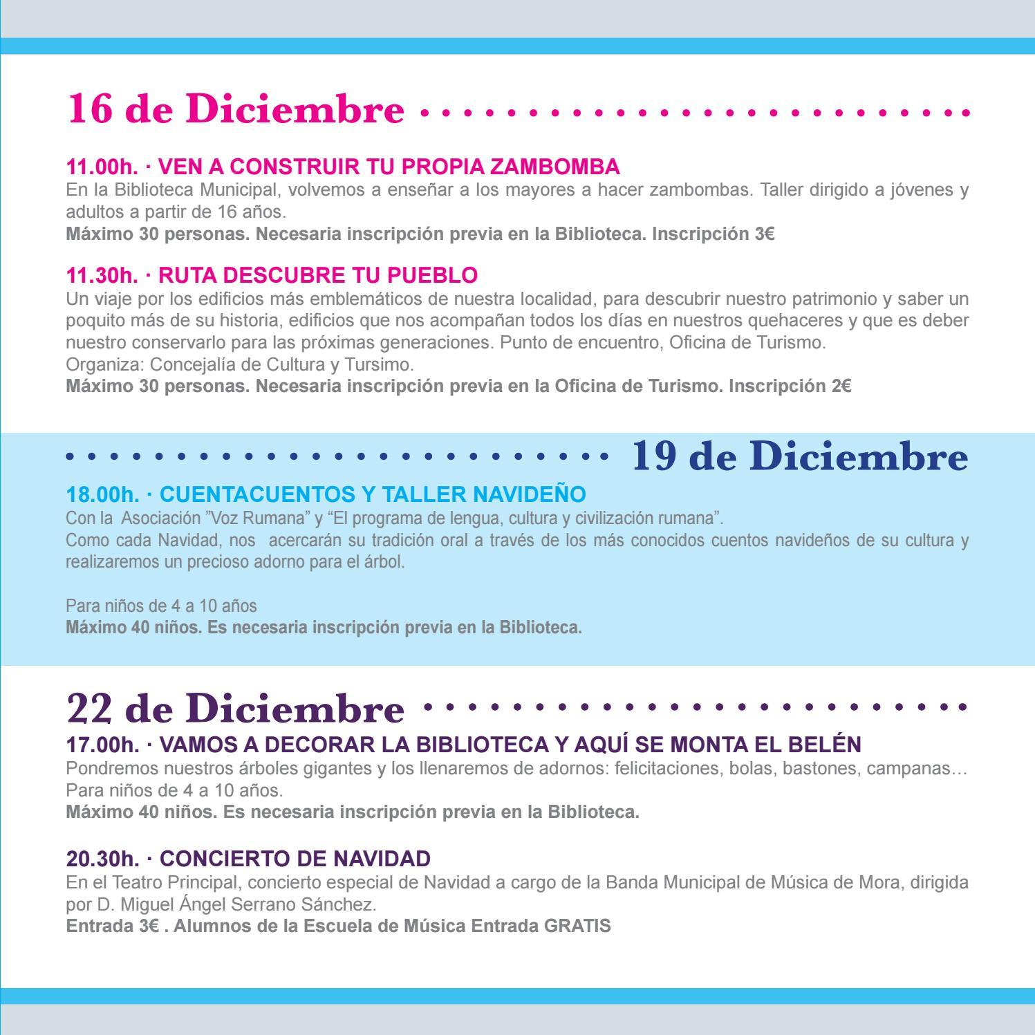 Como Decorar Una Zambomba De Navidad.Programacion De Navidad 2017 2018 By Ayuntamiento De Mora