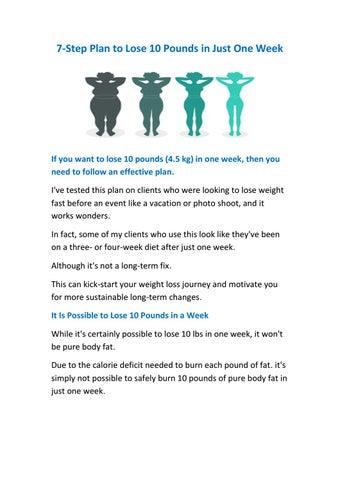 7-Step Plan to Lose 10 Pounds in Just One Week