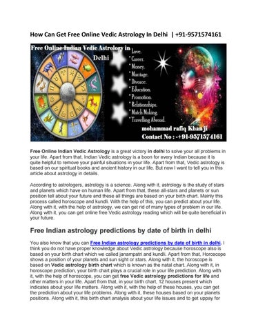 How Can Get Free Online Vedic Astrology In Delhi 91 9571574161 By