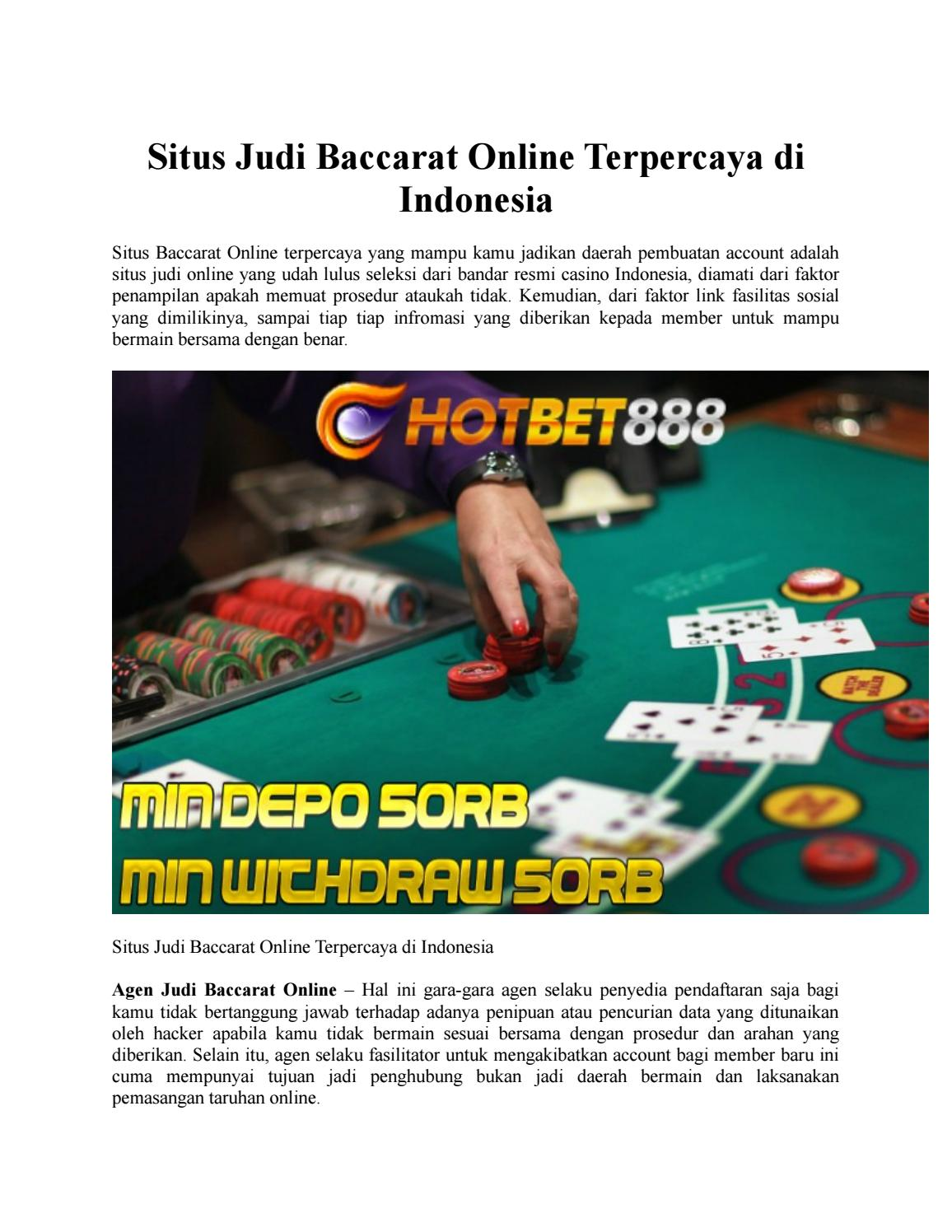 Situs Judi Baccarat Online Terpercaya Di Indonesia By Adeline Syifa Issuu
