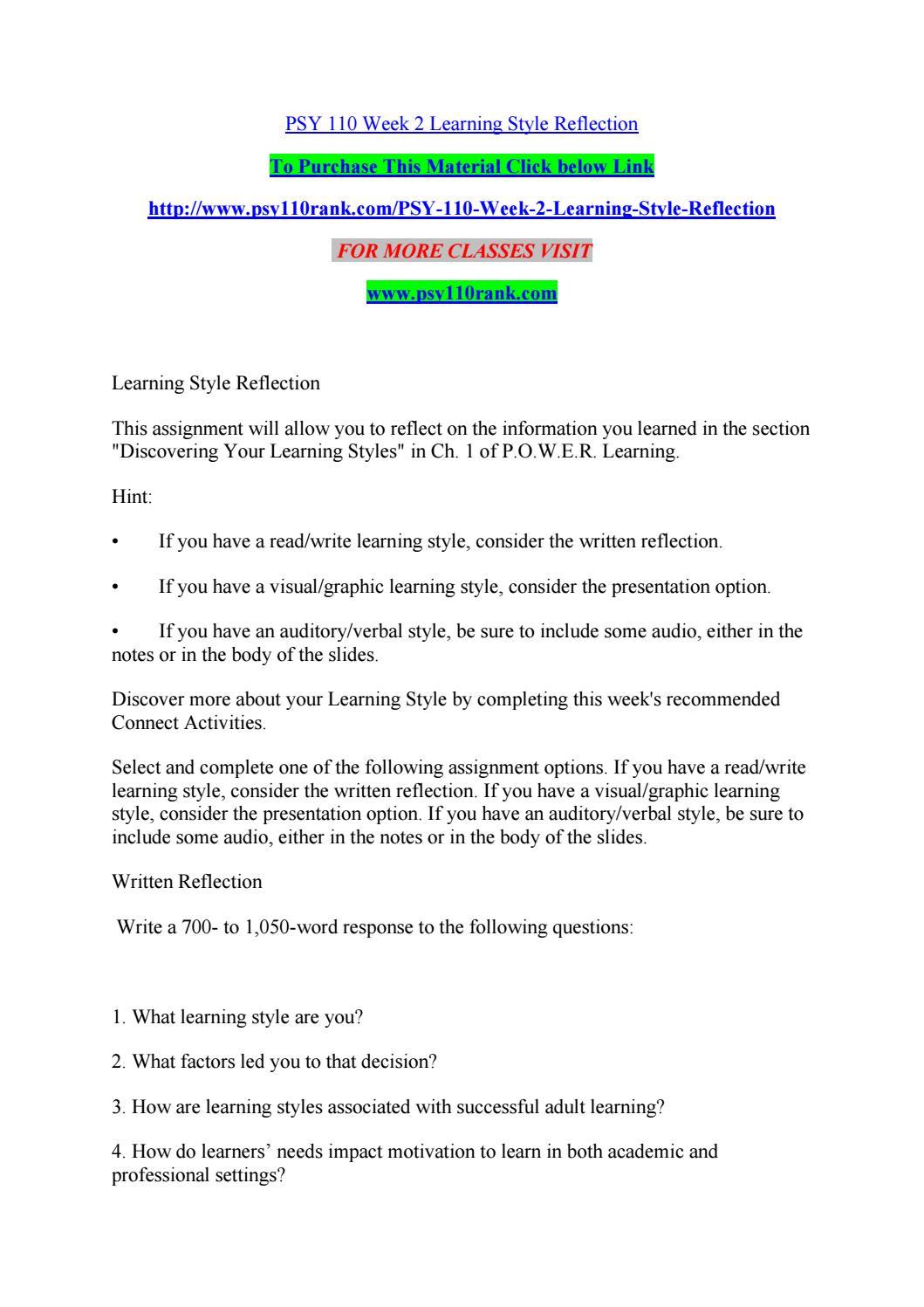Psy 110 week 2 learning style reflection by chr.i.s.toferdavidjohnson -  issuu