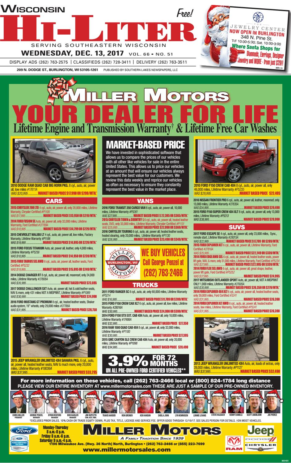 Miller Motors Burlington Wisconsin >> Wihi 12 13 17 By Southern Lakes Newspapers Rock Valley Publishing