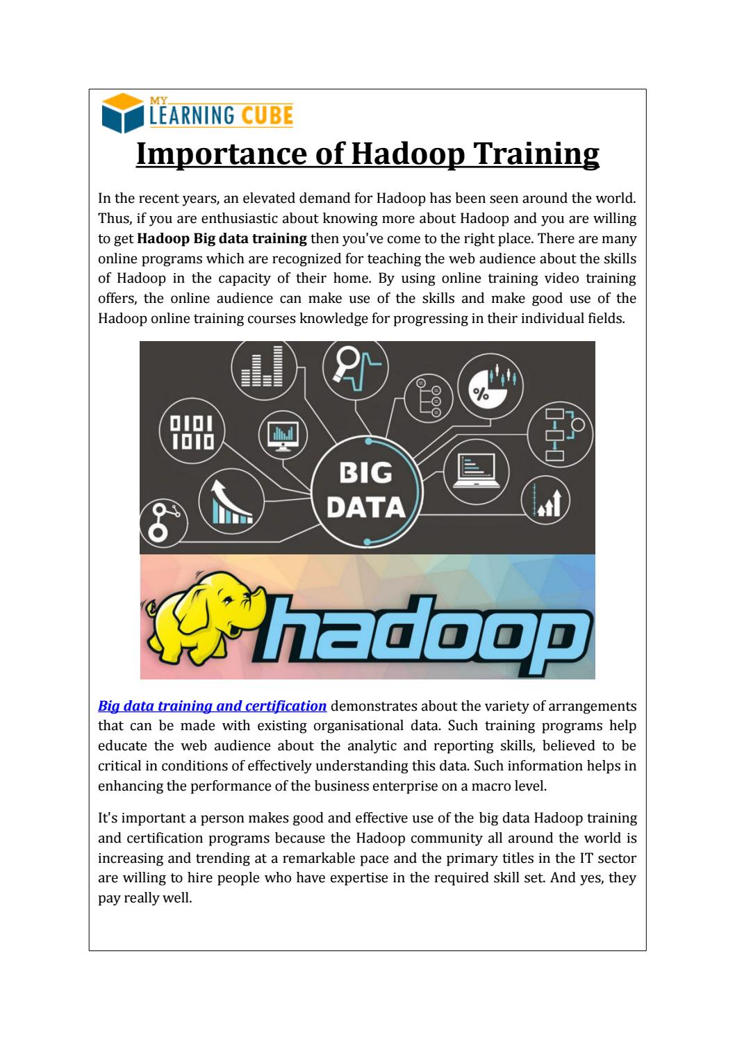 Best Online Training For Hadoop By Mylearningcube Issuu