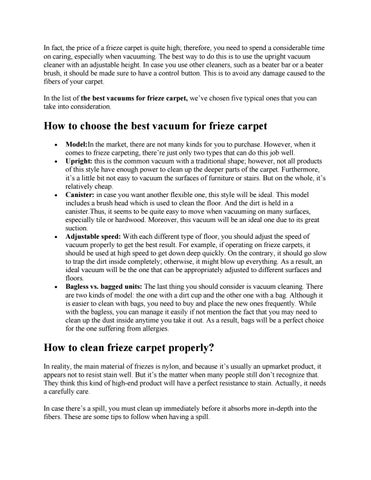 The Best Vacuum For Frieze Carpet 2017 By Tam Doan Xuan