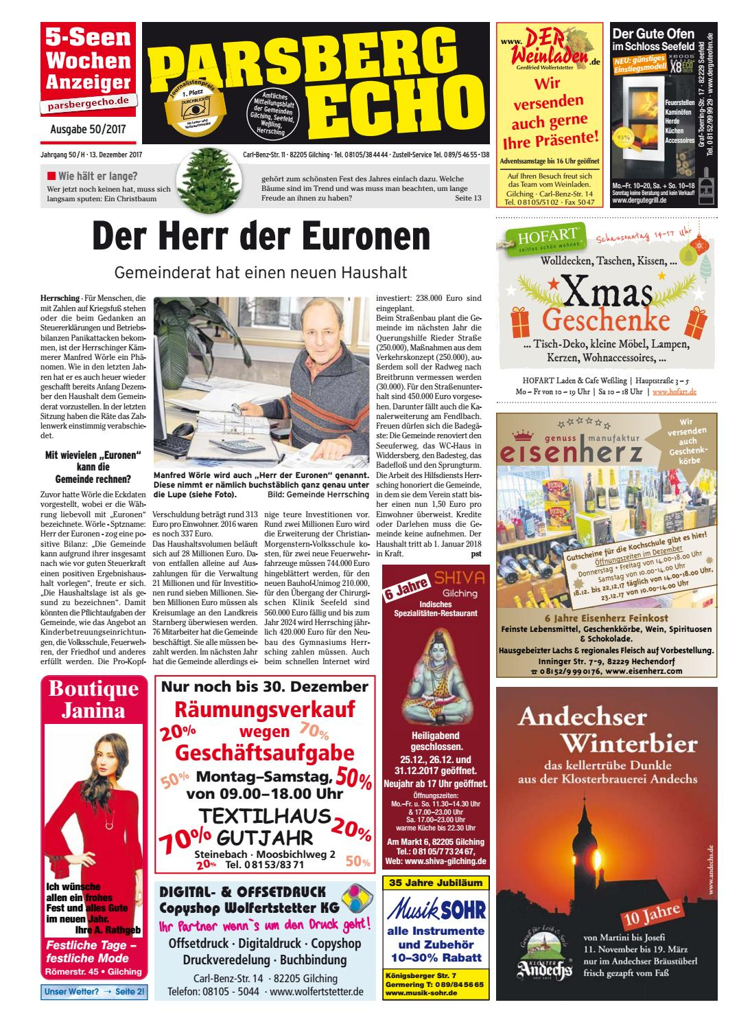 Kw 50 2017 By Wochenanzeiger Medien Gmbh Issuu