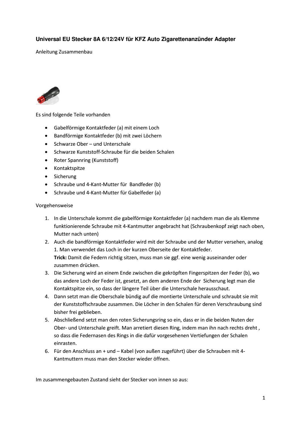 Super Anleitung Zusammenbau Kfz-Stecker by Kruis Klaus - issuu CW52
