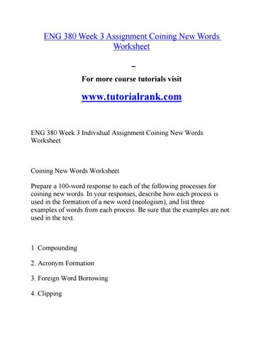Eng 380 Course Marvelous learning / tutorialrank com by c