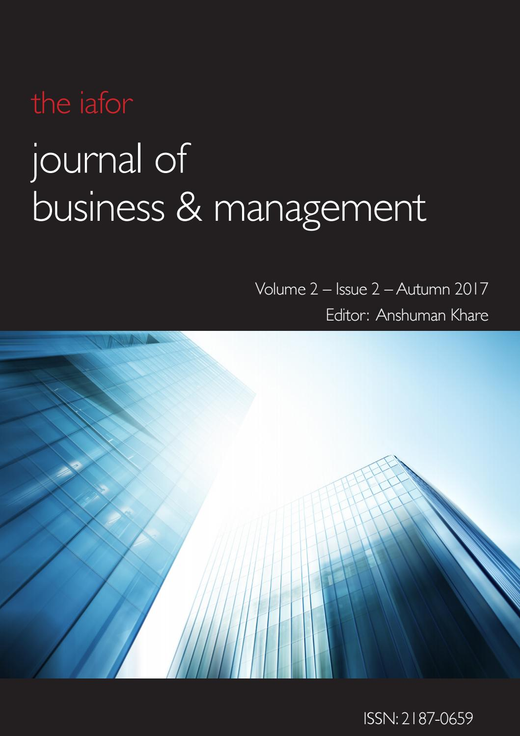 Iafor Journal Of Business Management Volume 2 Issue 2 By
