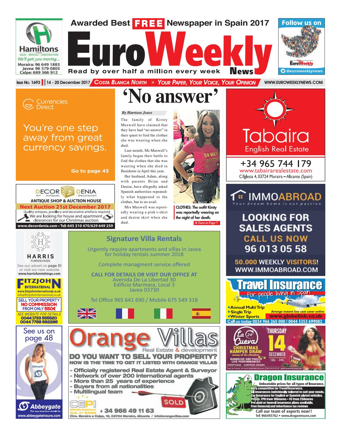 21e15f9568f Euro Weekly News - Costa Blanca North 14 – 20 December 2017 Issue 1693 by  Euro Weekly News Media S.A. - issuu
