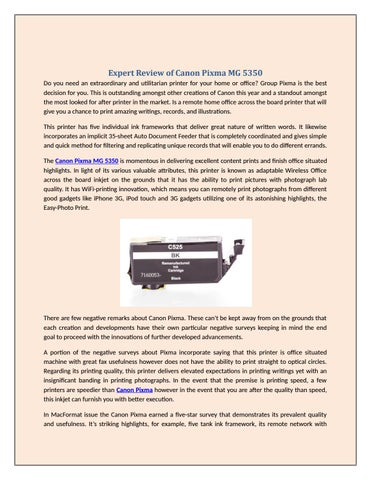 Expert Review of Canon Pixma MG 5350