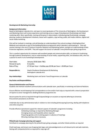 Development And Marketing Internship   Job Description By