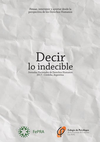 Decir lo Indecible by Colegio de Psicólogos - issuu