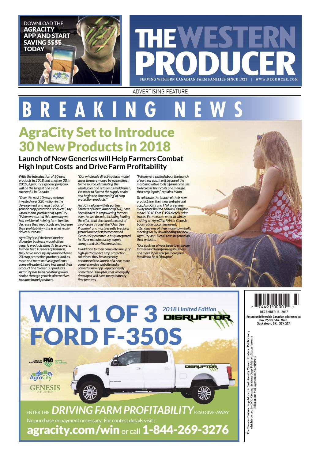 The western producer december 14, 2017 by The Western