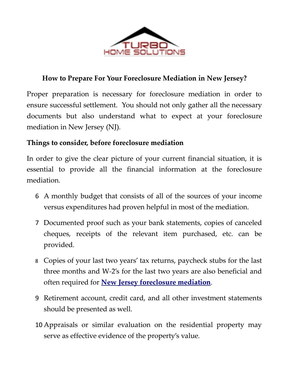 How to Prepare For Your Foreclosure Mediation in New Jersey