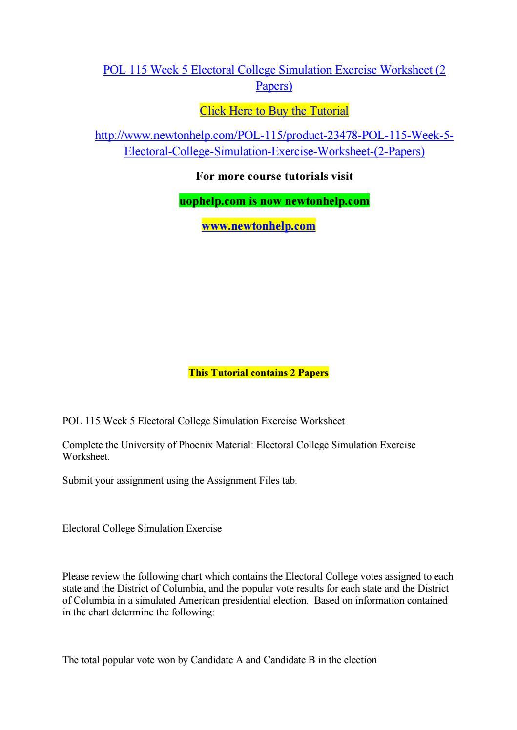 worksheet Electoral College Worksheet pol 115 week 5 electoral college simulation exercise worksheet 2 papers by bottlebrushcallistemon issuu