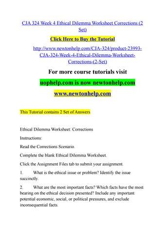 Cja 324 Week 4 Ethical Dilemma Worksheet Corrections 2 Set By