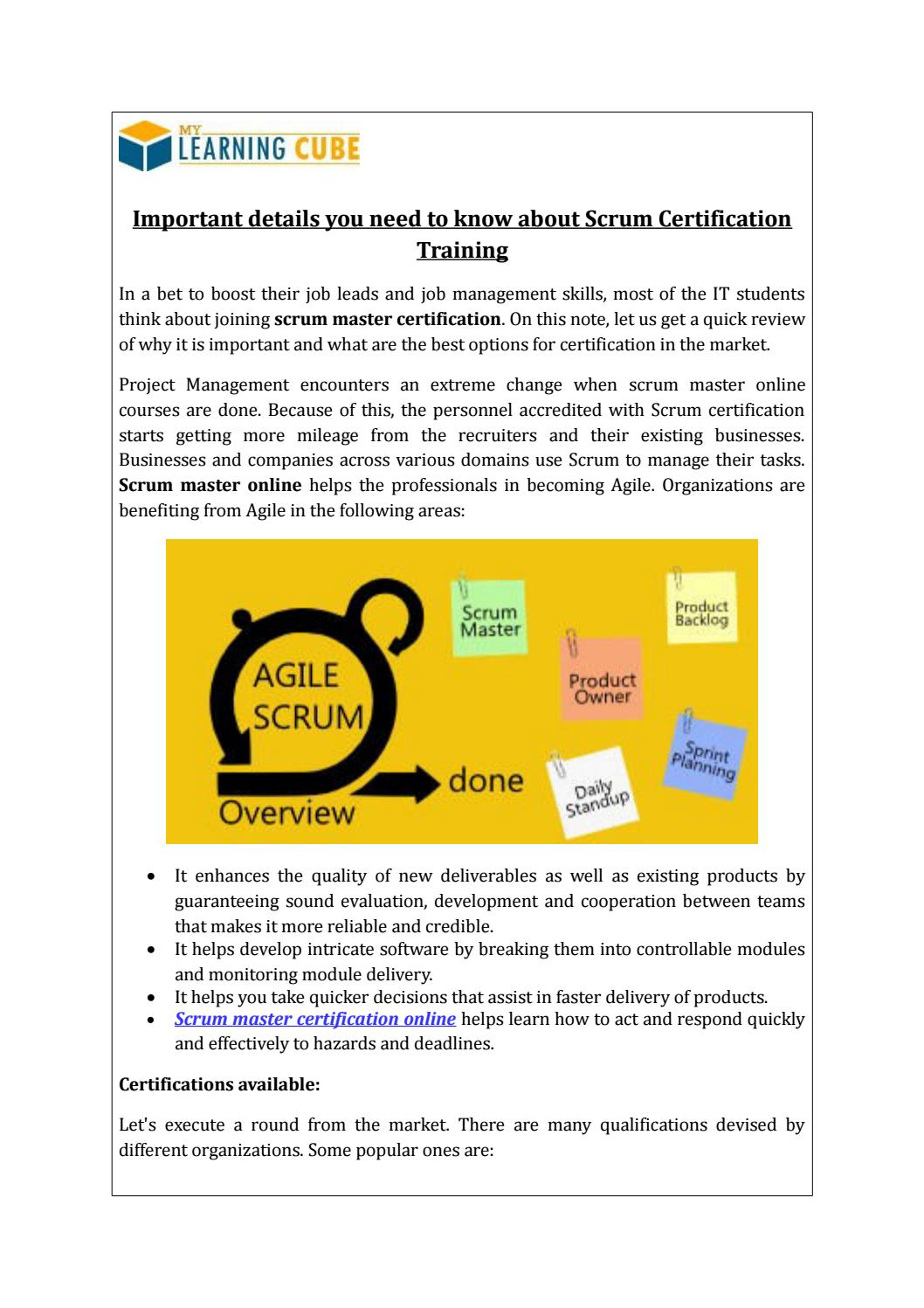 Online scrum master certification mylearningcube by mylearningcube online scrum master certification mylearningcube by mylearningcube issuu 1betcityfo Choice Image