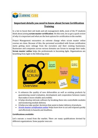 Online Scrum Master Certification MyLearningCube by MyLearningCube ...