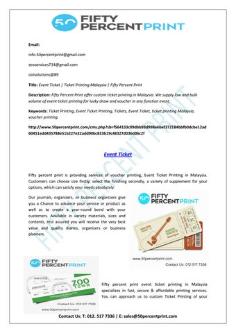 event ticket printing ticket printing malaysia 50percent print