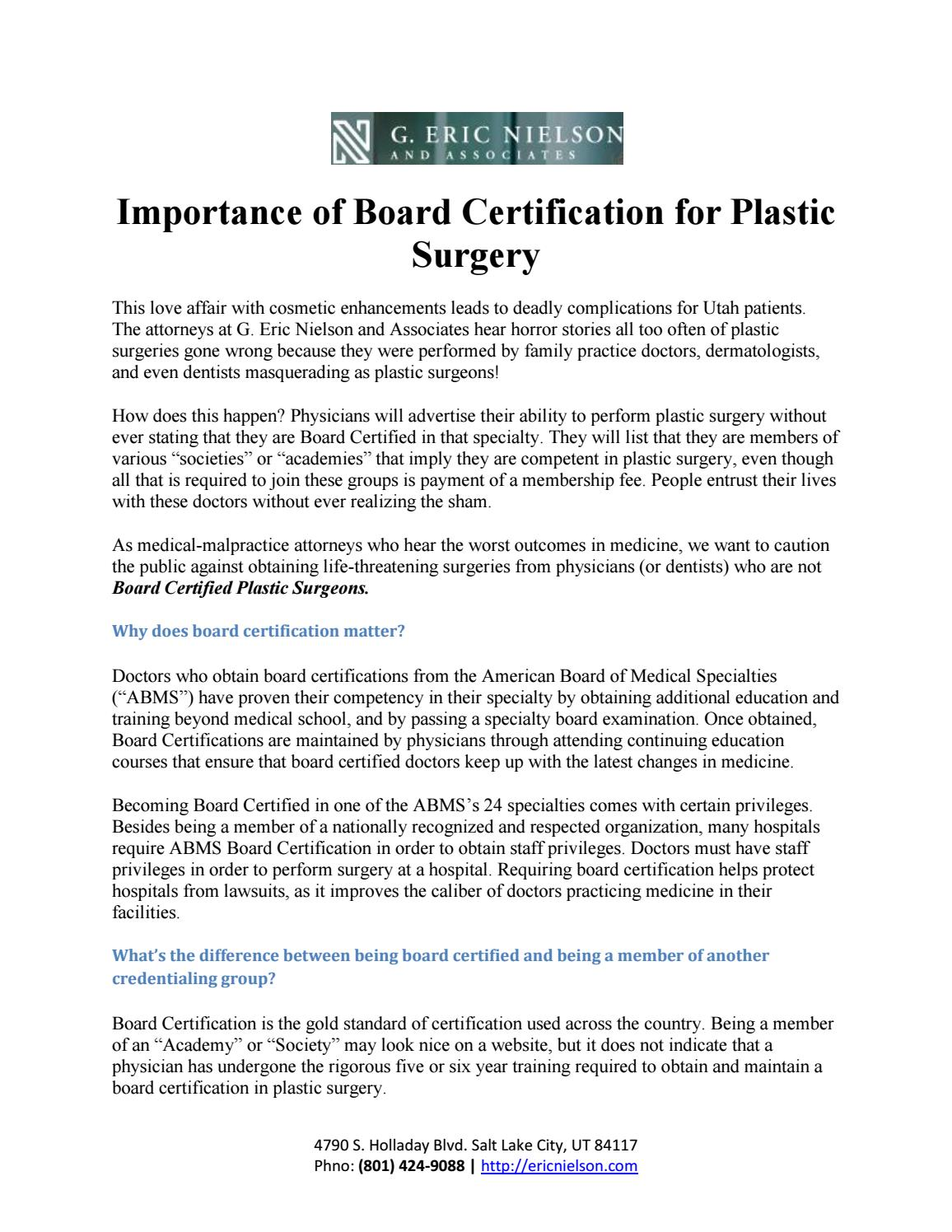 Importance of board certification for plastic surgery ericnielson importance of board certification for plastic surgery ericnielson by ericnielson issuu 1betcityfo Images