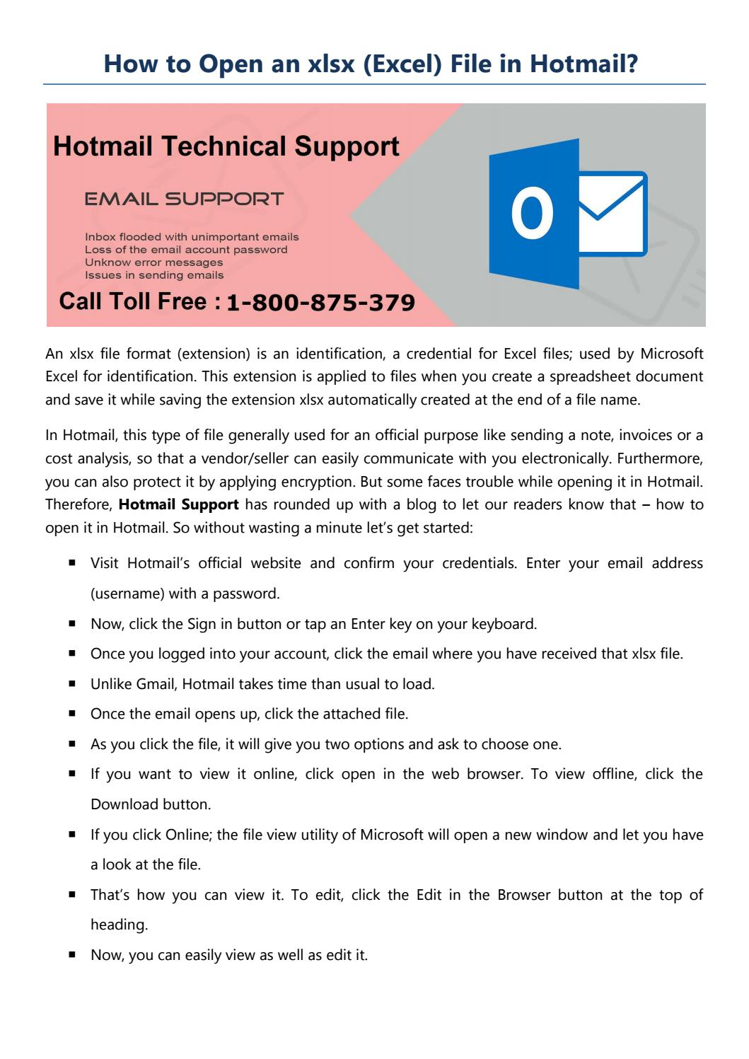 How to open an xlsx file in hotmail by hotmail tech support - issuu