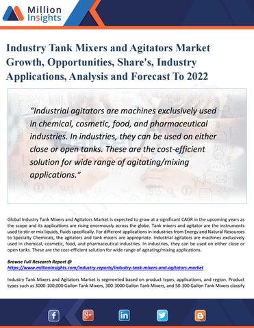 Industry Tank Mixers and Agitators Market Demand, Growth