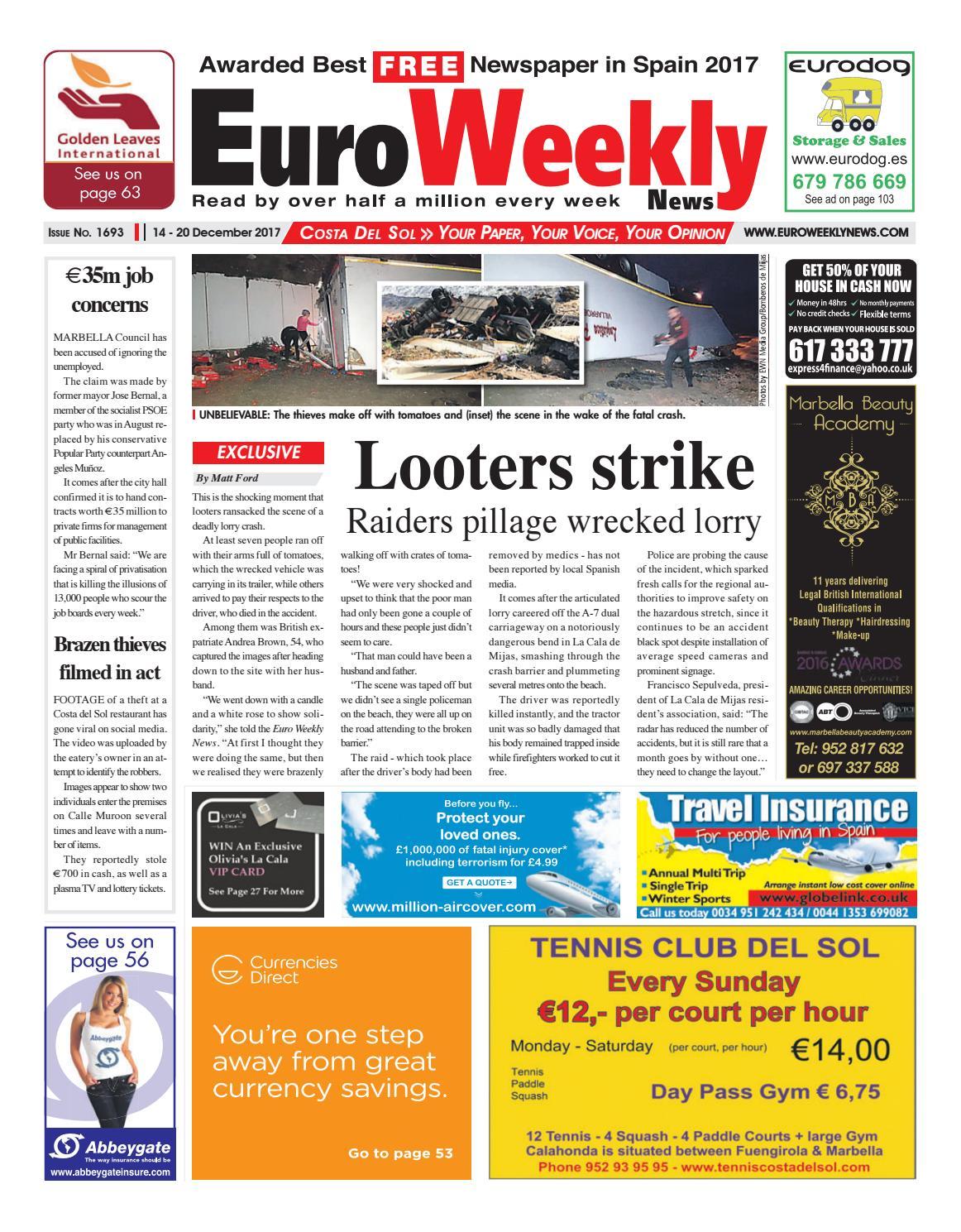 edd764cf533a3c Euro Weekly News - Costa del Sol 14 – 20 December 2017 Issue 1693 by Euro  Weekly News Media S.A. - issuu