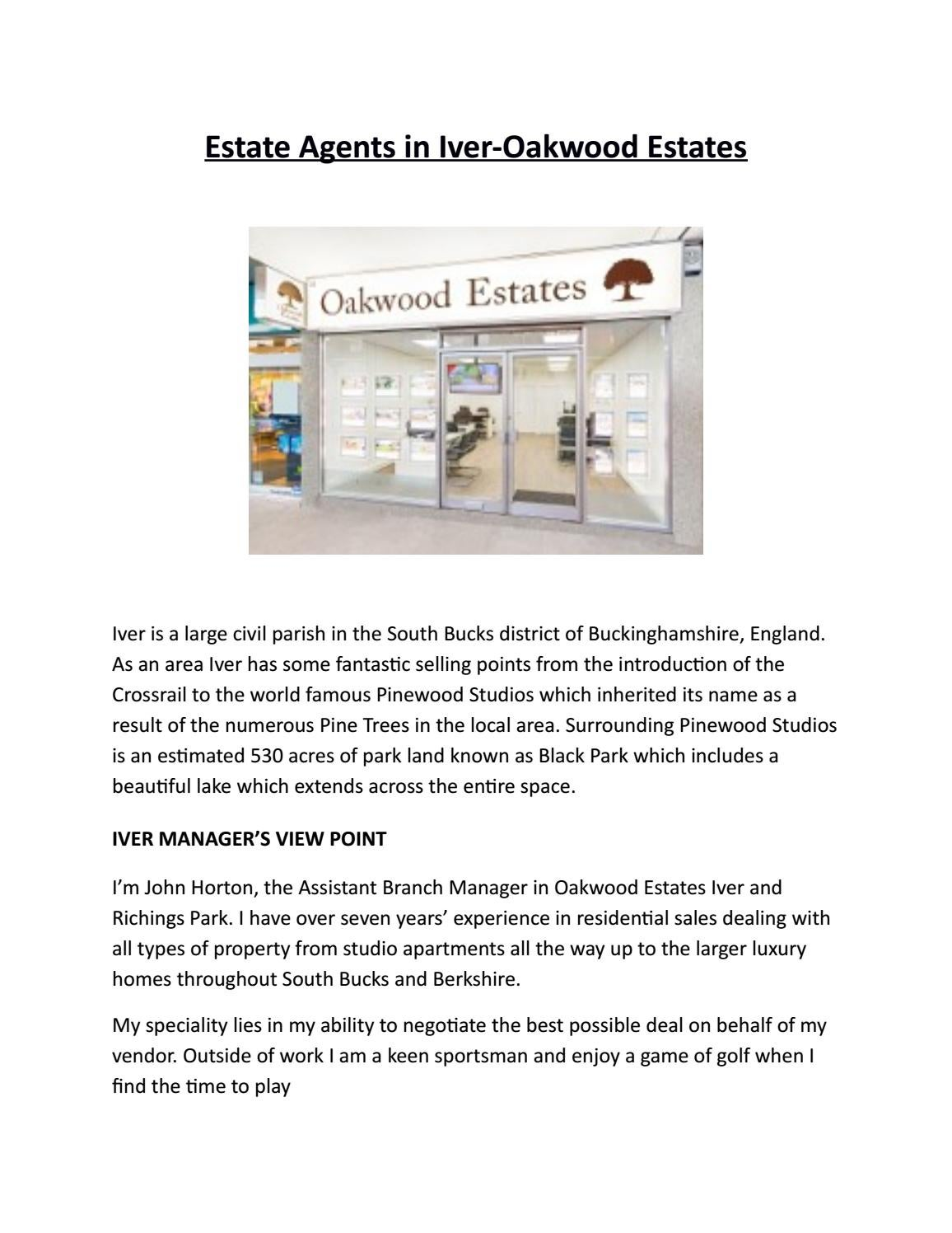 Estate agents in iver oakwood estates by Vicky Carney - issuu