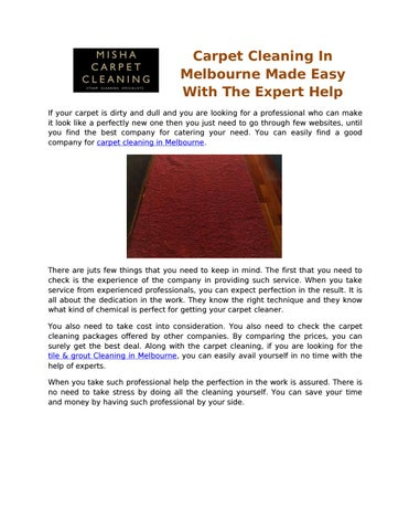 Carpet cleaning in melbourne made easy with the expert help by james carpet cleaning in melbourne made easy with the expert help if your carpet is dirty and dull and you are looking for a professional who can make it look solutioingenieria Image collections
