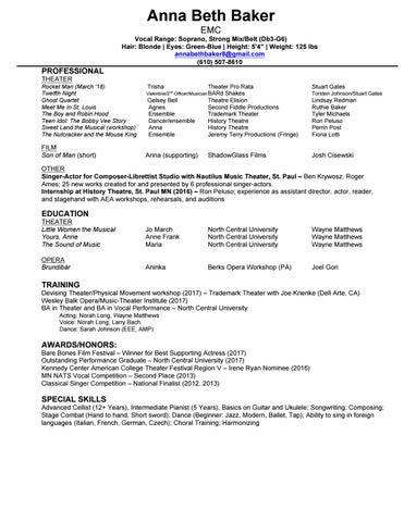 Performance Resume By Annabethbaker8 Issuu