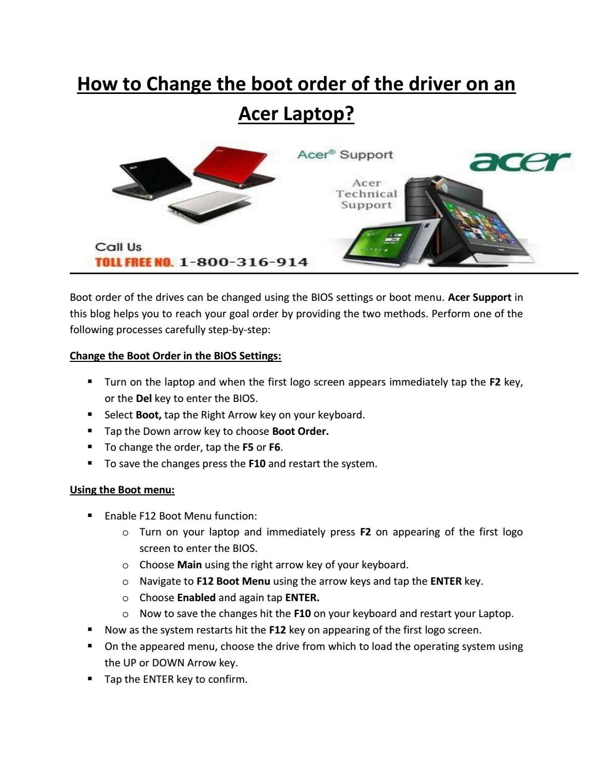 How to change the boot order of the driver on an acer laptop by