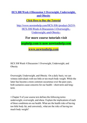 Hcs 308 Week 4 Discussion 1 Overweight Underweight And Obesity By Olym Opicga M E S Ri O A U G U S T Issuu