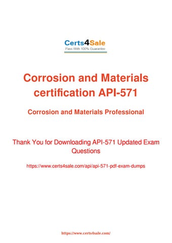 API-571 Exam Questions - Corrosion and Materials certification Dumps ...