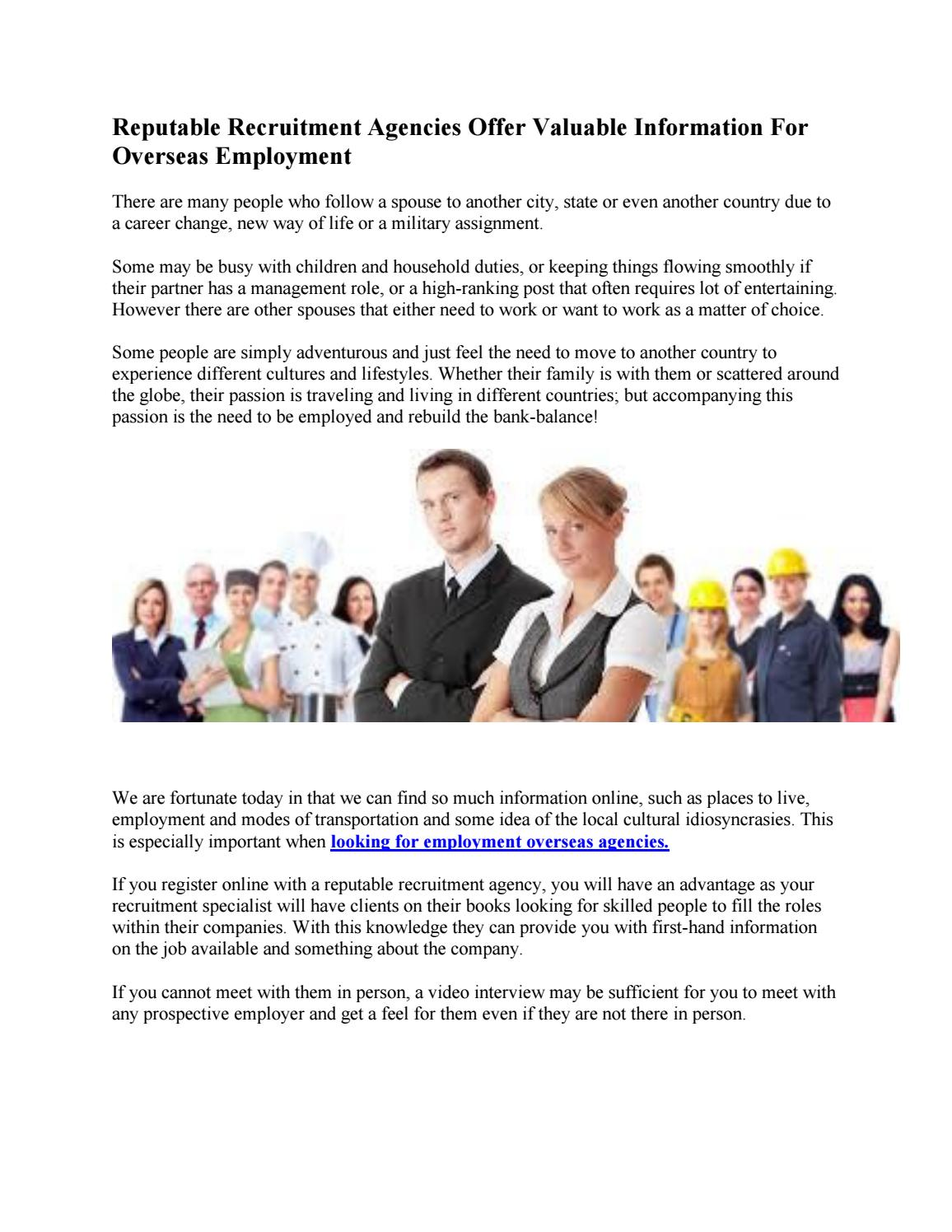 reputable recruitment agencies offer valuable information for overseas employment by manpower recruiting company from pakistan to saudi arabia - International Job Interviewing What Are The Cultural Differences