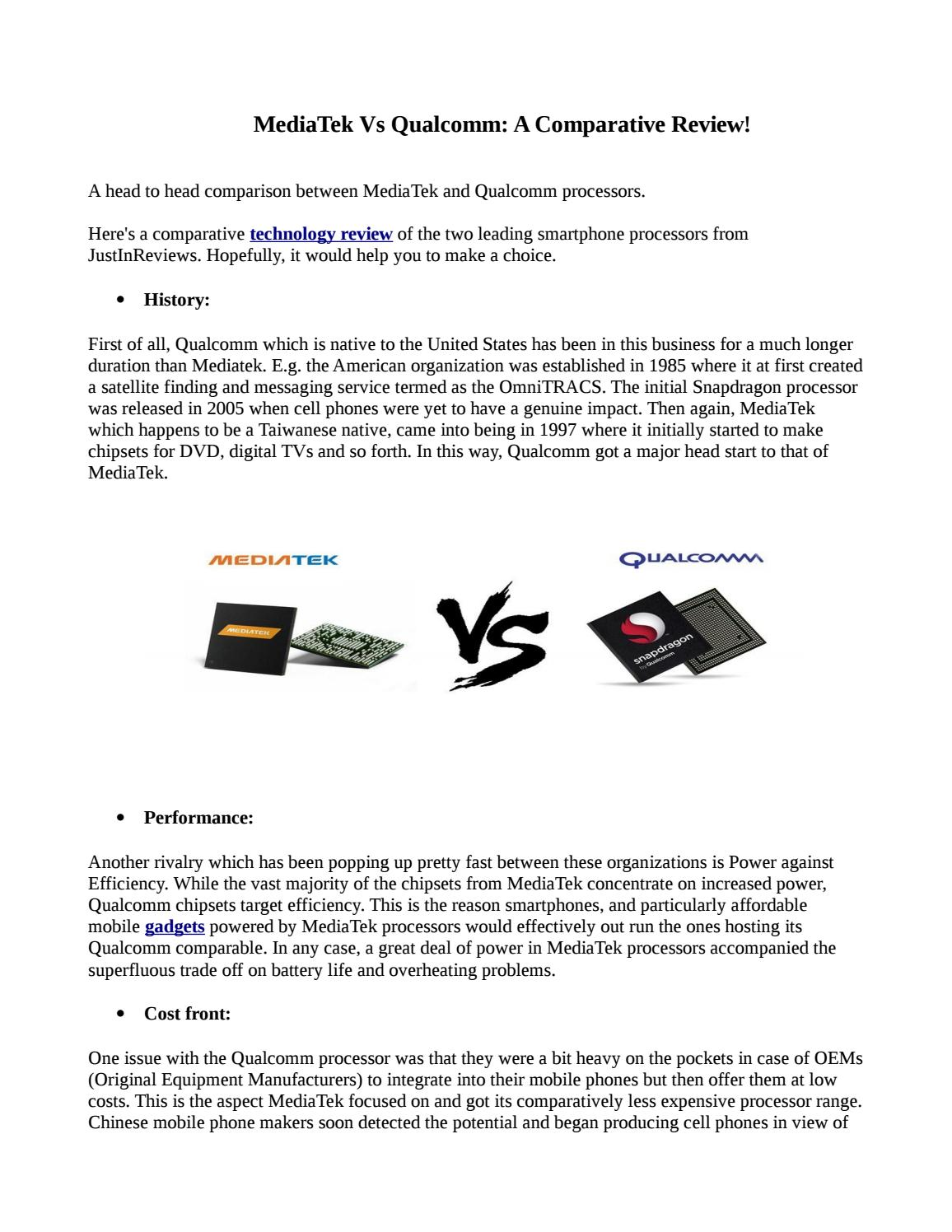 Mediatek vs qualcomm a comparative review by sonali456 - issuu