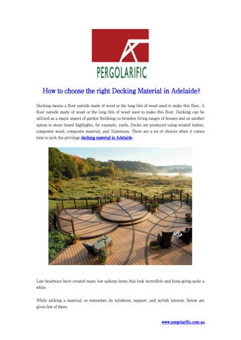 How to choose the right Decking Material in Adelaide