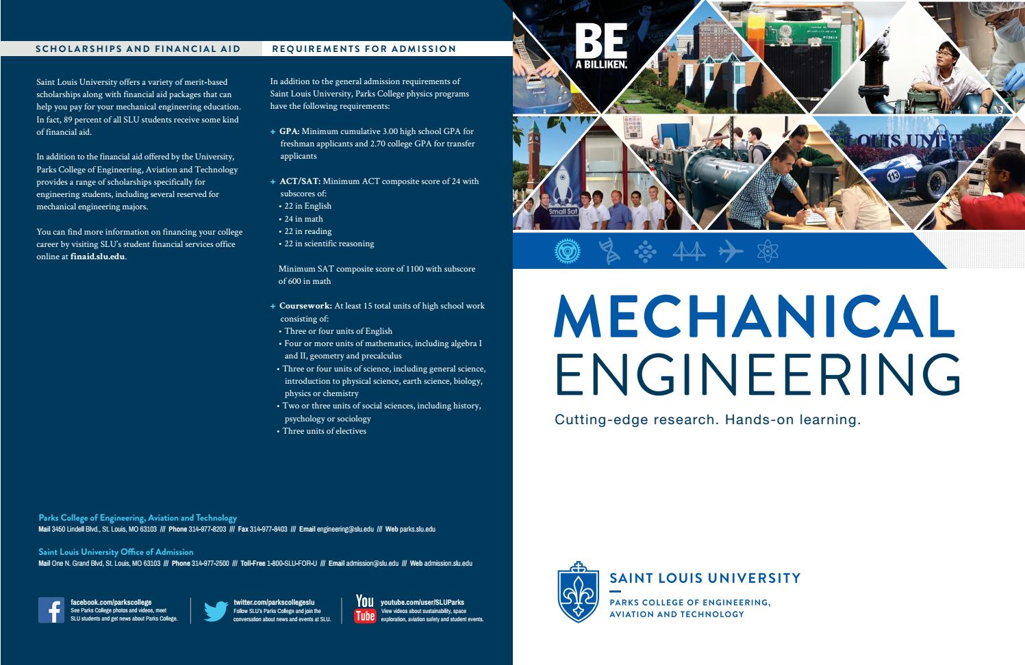 Department of Mechanical Engineering Brochure by Parks College of